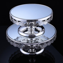 6pcs Silver Plated Cake Stand Metal Fruit Plate Dessert Decoration Pallet Event Party Decorations Wedding