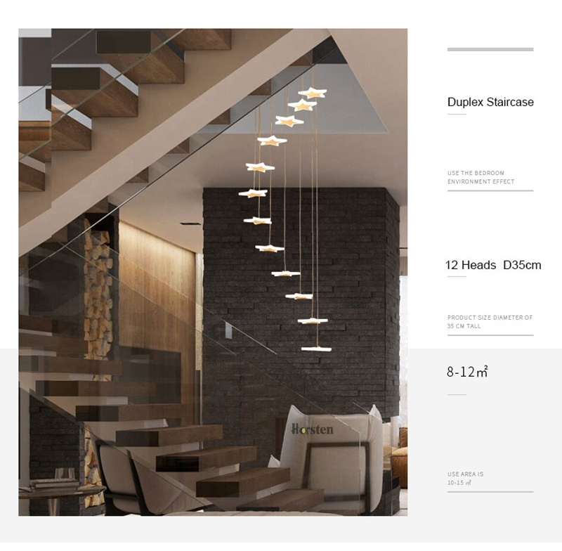 Modern Duplex Staircase LED Pendant Lights Personality 18 Stars Hanging Lamps Minimalist Rotaion Staircase Lamp Living Room Lighting (5)
