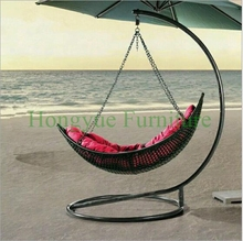 Outdoor black rattan hammock chair furniture with red cushions