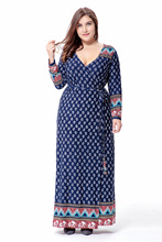 2017 Sakazy Big Size 6xl  Fat Mm Woman Dress Spring Loose Printing Long Dresses Plus Size Women Clothing 6xl Maxi Size Dress