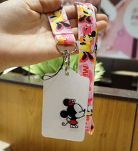 2016 Fashion 1pcs Cartoon Minnie Staff ID Card Case Holder Lanyards ID Work Badge Holder with Printed Neck Lanyard