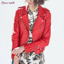 2017 Spring RED/Black Leather Jacket Women Faux Leather Coats For Women chaqueta Blazer Jack leren jas blouson cuir femme