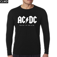New fashion autumn AC/DC band rock long Sleeve T Shirt Mens acdc Graphic O Neck Hip Hop T-shirts Print Casual Tshirt Plus Size