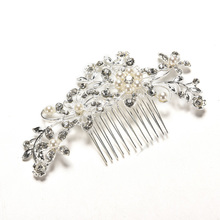 Fashion Wedding Flower Hair Jewelry Crystal Rhinestones Pearls Women Bridal Hair Clip Comb Hair Pin Accessories(China)