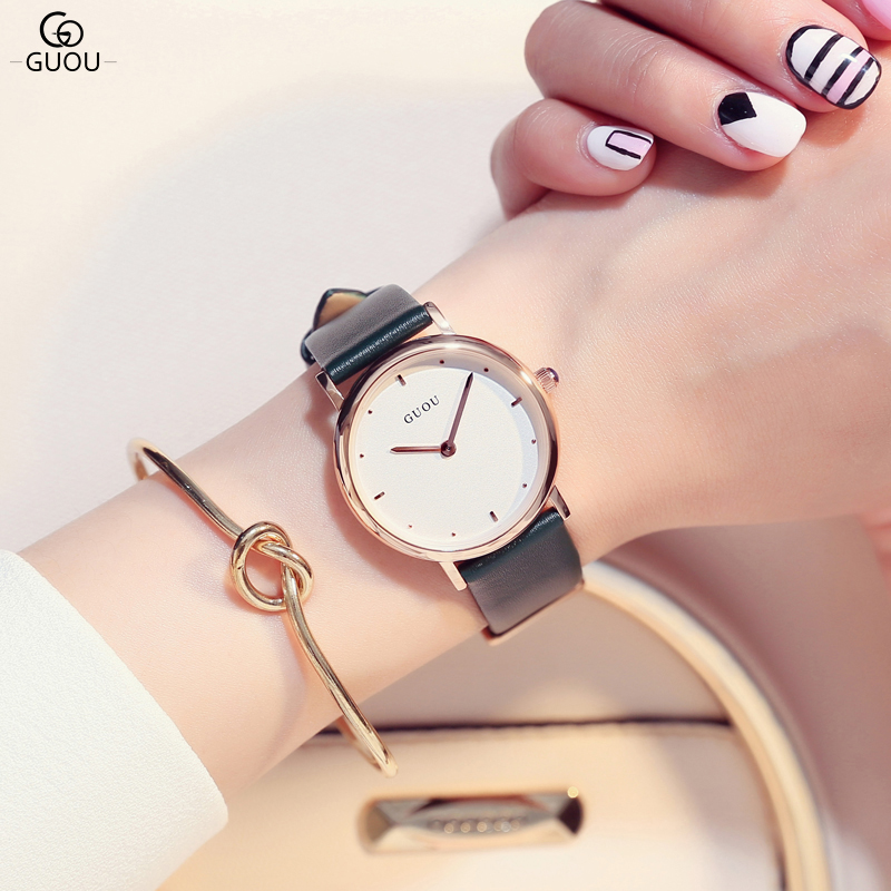 GUOU Brand Fashion Casual Women Watches Luxury Leather Quartz Watch Waterproof Relogio Feminino Clock Reloj Mujer Montre Femme<br>