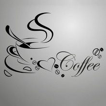 Removable Vinyl Black Coffee Wall Stickers Coffee Cup Living Rooms Bedroom Decoracion Kitchen Glass Wallpapers Shop Home Decor(China)