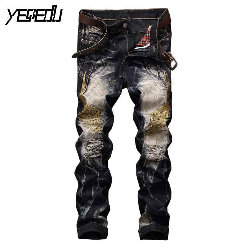 #3443 2017 Streetwear Embroidered jeans mens Motorcycle Fashion Black Ripped jeans for men Biker jeans homme distressed Hip hop Îäåæäà è àêñåññóàðû<br><br>
