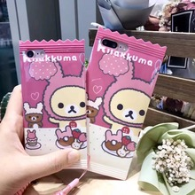 Japan Super Cute Rilakkuma Plushies Bear Candy TPU Case Cover With Lanyard For Iphone 6Plus 5.5inch