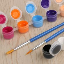 Random Color!!!12 Colors With 2 Paint Blue Brushes Per Set Acrylic Paints For Oil Painting Nail Art Clothes Art Digital(China)