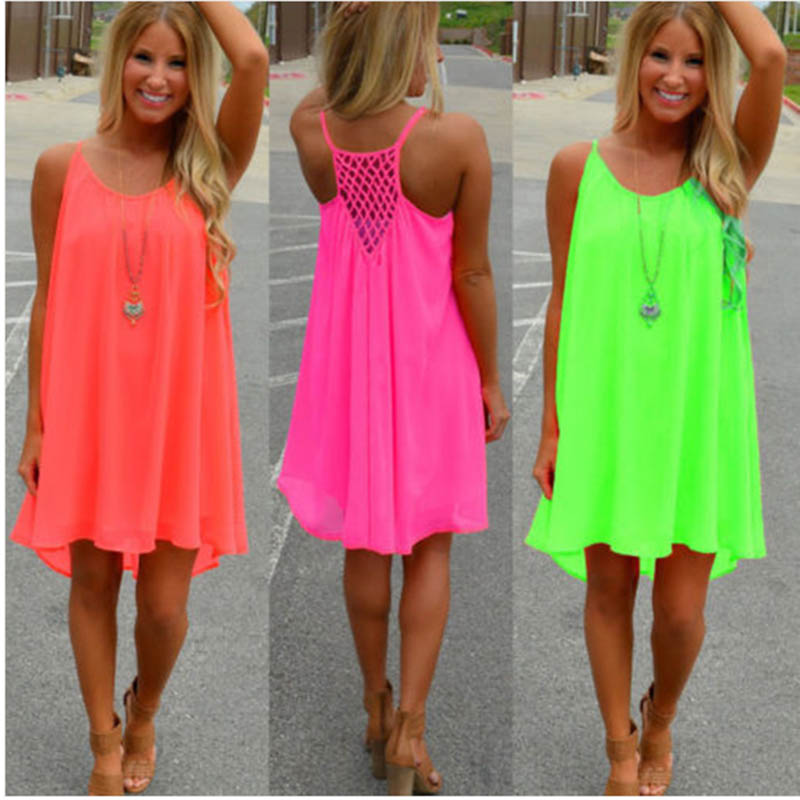 Vestidos 2017 New Spaghetti Strap Beach Dress Sleeveless Fluorescence summer dress Chiffon Casual Loose female Short Dress 9