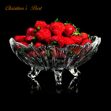 Pro Quality Fruit Bowl with Three Feet - Apple Dish - Glass Candy Plate - Best Kitchenware with FREE Shipping(China)