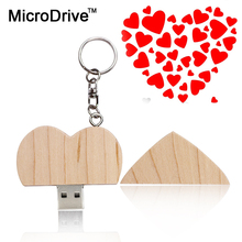 Microdrive Wooden Heart Usb flash drive Memory Stick Pen Drive 4gb 8gb 16gb 32gb 64gb Pendrive U Stick Memory Stick wedding gift