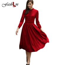 Spring Women Cotton Dresses 2017 New Vintage Lace Decor Solid Stand Collar Full Lantern Sleeve Band Waisted Pleated Hem Vestidos(China)