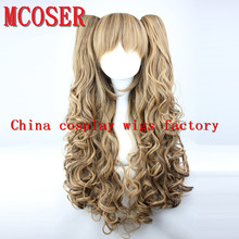 MCOSER Women's Lolita wig Long color Mixed Curly +clip on Ponytail Synthetic Hair Cosplay Party Anime Full Wig