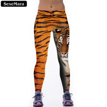SexeMara Best Sell Tiger Stripe Leggings Women Casual Sexy Printed Elastic Creative Leggins Fitness Bodycon  Pants F1471