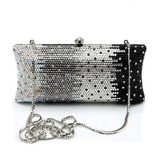S7735BC Black in Gradual change effect Crystal Lady fashion Bridal Metal Evening purse clutch bag case handbag