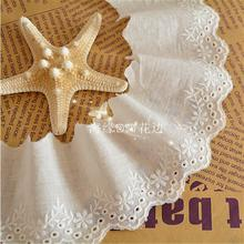 Free Shipment 5 Yards 6.5cm Wide Off White Beautiful Lace Trim Fabric Hot Sae 100%Cotton Embroidered Lace Ribbon