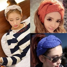 Women Crochet Twist Knitted Headband Cute candy colored Head wrap Winter Elastic Knitted Head Band Turban Style Headband(China)