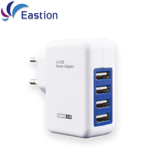 Eastion 4 Ports EU Plug Multiple Wall USB Smart Charger Adapter Mobile Phone Device 5V 3A Charge Fast Charging for iPhone iPad