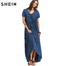SHEIN Basic Maxi Dresses Long Summer Casual T shirt Dress Double V Neck Frilled Tent Navy Short Sleeve Dress