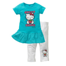 hello kitty leggings set short sleeve tees t-shirt +pants 2016 summer cotton girls outfits clothing clothes set for girls