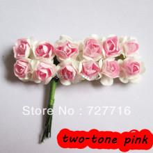 144PCS/LOT  Mulberry Paper Flower Bouquet/DIY gift box and card/ Scrapbooking artificial rose flowers  Free shipping