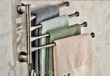 Movable Bath Towel Bar Towel Holders Antique Brass Four Bars Traditional Wall Mounted