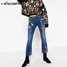 WINDGIRL Women's Mid Waist Jeans Pants Fashion Blue Floral Embroidery Female Bell-bottoms Denim Flower Trousers Jeans Pants