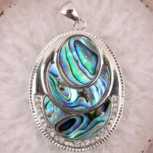 34X44MM Abalone Shell Gem  Pendant Silver Plated 1PCS