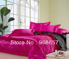 sexy rosy black mix match colors Smooth tribute silk satin bed linen girls bedding comforter queen/full quilt duvet covers set(China)