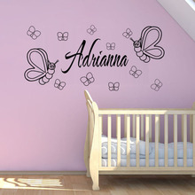 Personalized Name Baby Butterflies Vinyl Wall Sticker Home Decor Living Room Bedroom Decor Home Decoration Accessories Wallpaper