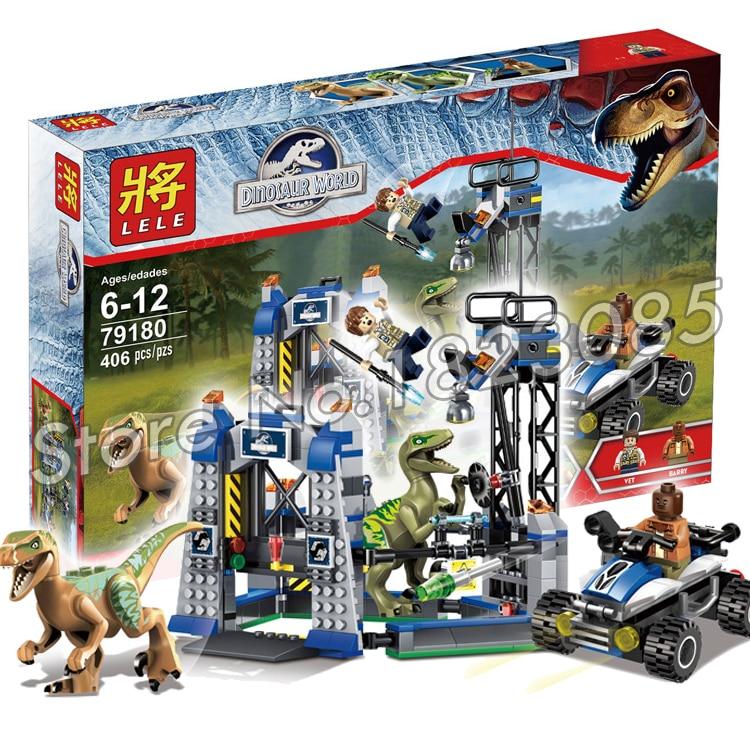 406Pcs Bela 79180 Jurassic World Park Raptor Escape Building Blocks Kits Sets Hoskins dinosaur Compatible With Lego<br><br>Aliexpress