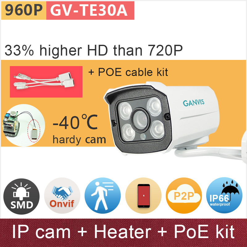 -40 C hardy IP camera + PoE cable kit + Heater inside 1.3mp 960P HD security CCTV surveillance camera mini GANVIS GV-TE30AH pk<br>