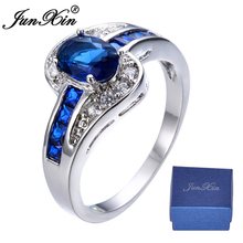 JUNXIN Brand Men Women Blue Oval Ring Vintage White Gold Filled Jewelry Christmas Gifts Shipping From US OS-RW0375