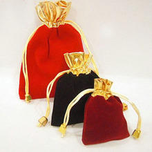 "Small Gold Mouth Velvet Gift Bags 7x9cm(2 6/8""x 3 4/8"") Pack of 50 Stud Ring Earring Jewelry Drawstring Pouch(China)"