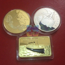 MIx order 15pcs/lot 24K 1 OZ .999 Gold silver Plated Titanic Elizabeth Collectible commemorate Bullion Bar
