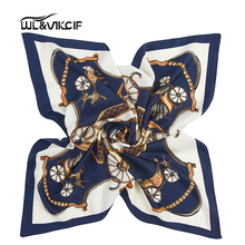 silk handkerchief Small Silk Scarf square Women 60*60 foulard satin neck Carriage chain scarf Female Luxury Brand shawl pz39