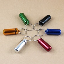 Hot 6 Colors Waterproof Aluminum Pill Box Case Bottle Cache Drug Holder Keychain Container(China)