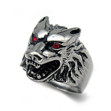1 Pc Stainless Steel Vintage Wolf Head Finger Rings For Men Fashion Punk Style Jewelry Accessory Wholesale 6 Sizes