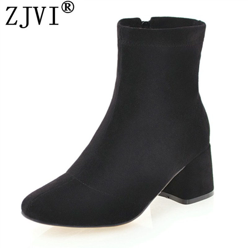 ZJVI women ankle boots winter autumn thick plush warm 2017 female womens woman square heels boots ladies suede nubuck shoes<br>