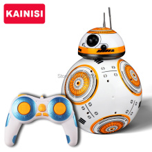 Free shipping 17cm Star Wars RC 2.4G BB-8 Robot upgrade remote control BB8 robot intelligent with sound RC Ball kid gift boy toy(China)