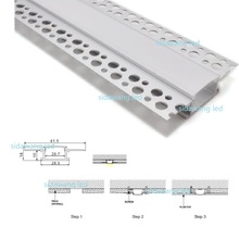 10pcs x 1m Recessed Aluminium Led Profile for inside corner, Aluminum Channel for drywall use with holes on the flange SDW6114-B(China)