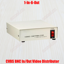 1 In 6 Out Composite CVBS BNC Connector Video Signal Distributor for CCTV Security Camera System 1-6CH Video Splitter Amplifier