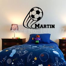 Vinyl Soccer Football Wall Decals Personalized Name kids boy For Children Room Decor Stickers ,Size 41*60CM Free Shipping(China)