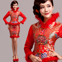 Red Long Sleeved Bride Wedding Qipao Dress 2015 Winter Cheongsam Embroidery Dragon Gown Traditional Chinese Qi Pao