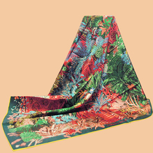 "Huajun || New brand scarf ""Jardin a Sintra"" 90 silk scarf 100% natural mulberry silk hand-rolled twill(China)"
