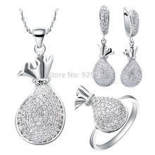 Jewelry Sets for Women Wedding Jewellry Zircon Accessories Purse Ring Necklace Earrings Sets