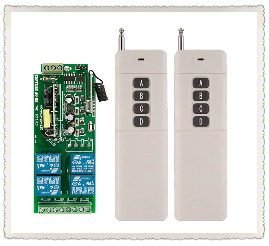 Long Transmitter  AC85v~250V 110V 230V 4CH Wireless Remote Control Switch 220V Relay Output Radio RF Transmitter Receiver<br>