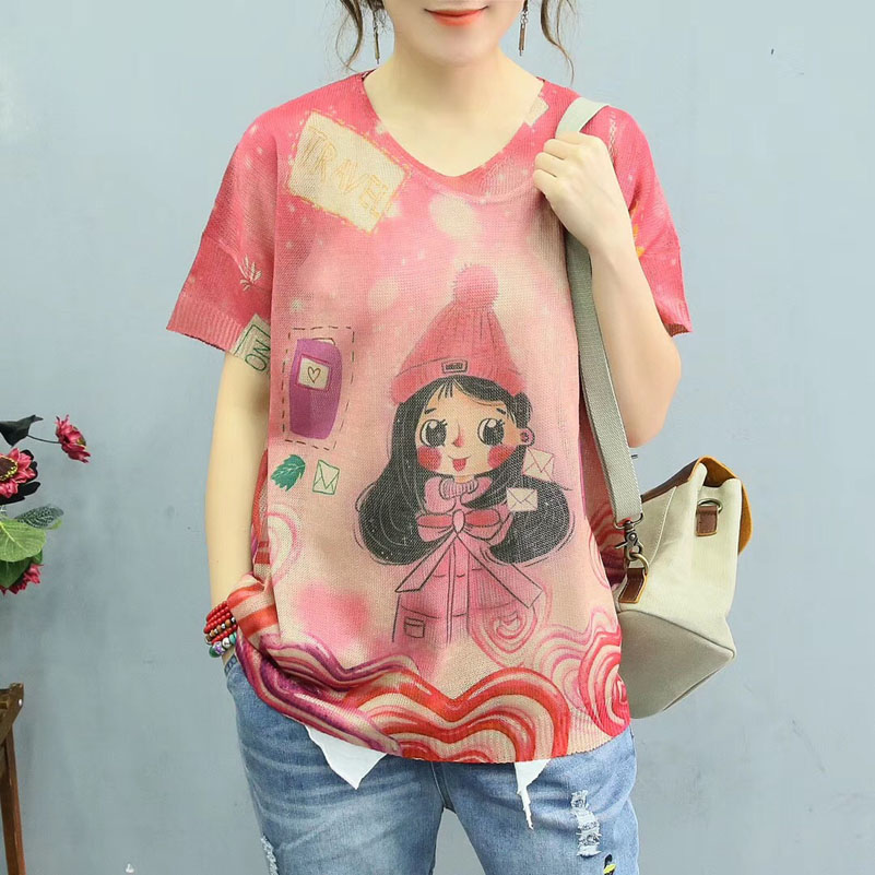 QPFJQD Cartoon Girl Painting Knitted Summer Sweaters Thin Retro Color Printed Sweater Womens Casual O Neck Loose Knit Pullovers