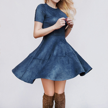 2017 autumn winter women sexy suede dresses O-neck short sleeve A-line dress pink navy cute dresses